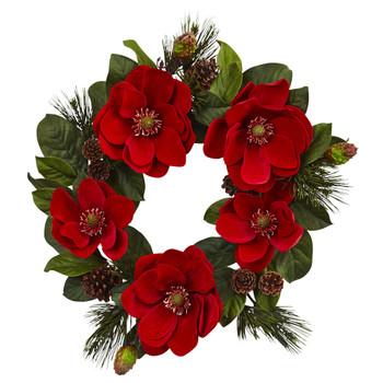 24 Red Magnolia Pine Wreath - SKU #4869