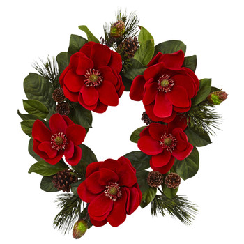 24 Red Magnolia Pine Wreath - SKU #4869