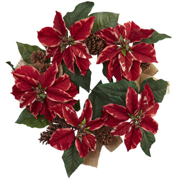 22 Poinsettia Pine Cone Burlap Wreath - SKU #4871