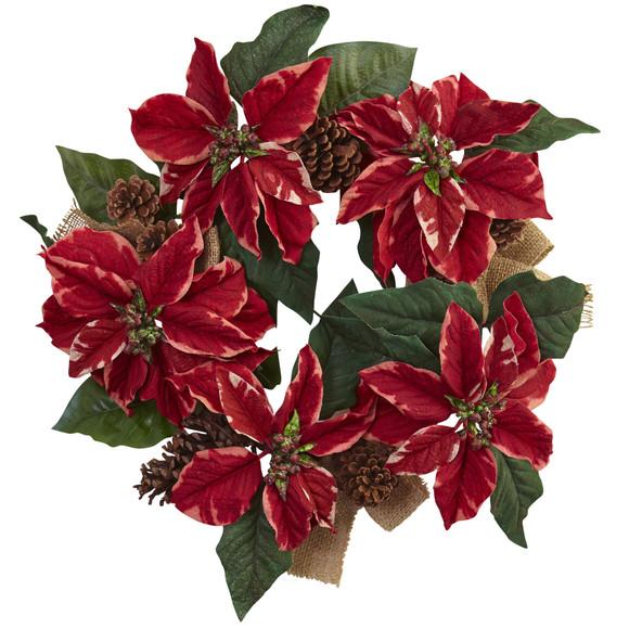 22 Poinsettia Pine Cone Burlap Wreath - SKU #4871