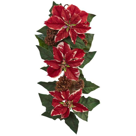 25 Poinsettia Pine Cone Burlap Teardrop - SKU #4872