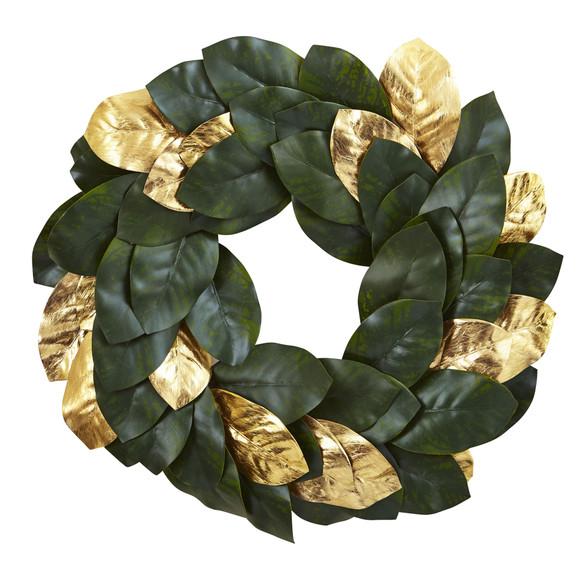 22 Golden Leaf Magnolia Wreath - SKU #4873