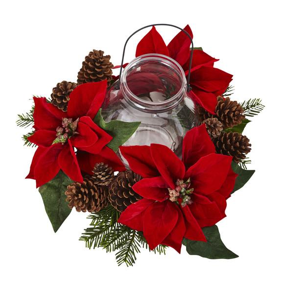 Poinsettia Pine Pine Cone Candelabrum - SKU #4875 - 1