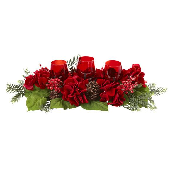 Triple Hydrangea Red Candelabrum - SKU #4876