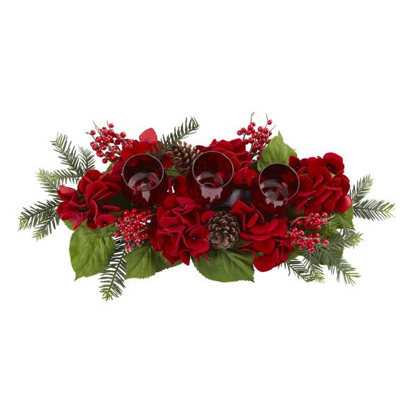 Triple Hydrangea Red Candelabrum - SKU #4876 - 1