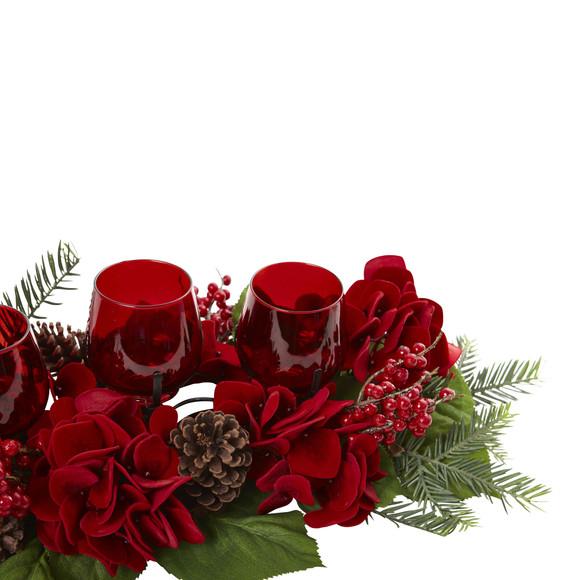 Triple Hydrangea Red Candelabrum - SKU #4876 - 2