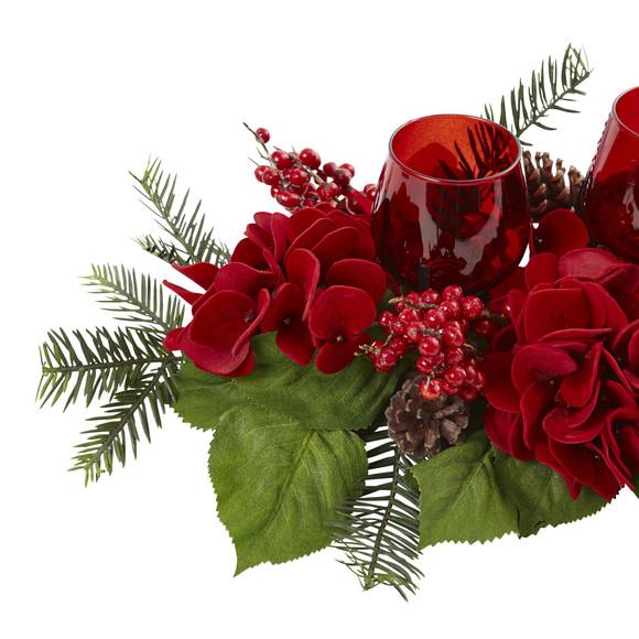 Triple Hydrangea Red Candelabrum - SKU #4876 - 3