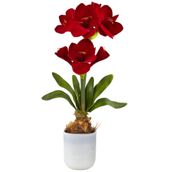 Silk Amaryllis Floral Arrangement - SKU #4878