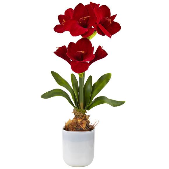 Silk Amaryllis Floral Arrangement - SKU #4878