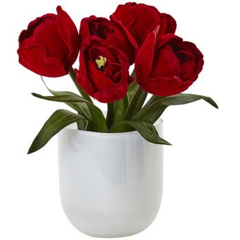 Tulips w/White Glass Vase - SKU #4880-RD