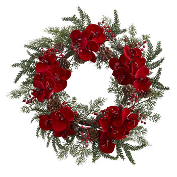 22 Orchid Berry Pine Holiday Wreath - SKU #4884
