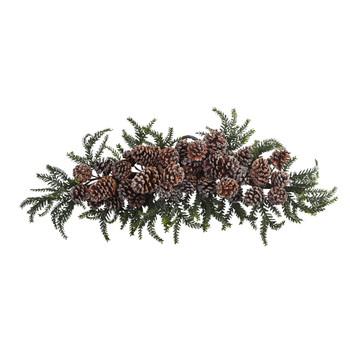 28 Iced Pine Cone Swag - SKU #4886
