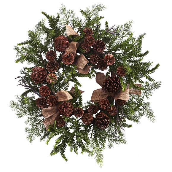 24 Pine Pine Cone Wreath w/Burlap Bows - SKU #4888