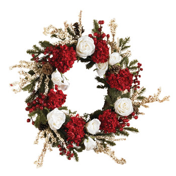 24 Hydrangea w/White Roses Wreath - SKU #4899