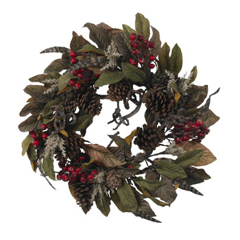 24 Pinecone Berry Feather Wreath - SKU #4901
