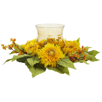 Golden Sunflower Candelabrum Silk Flower Arrangement - SKU #4905
