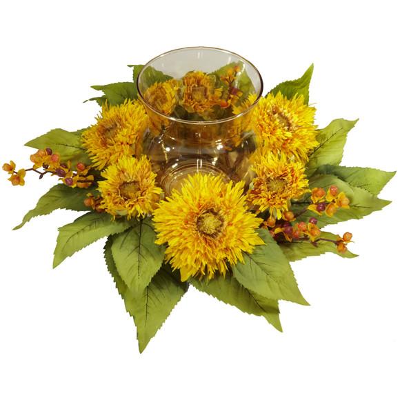 Golden Sunflower Candelabrum Silk Flower Arrangement - SKU #4905 - 1