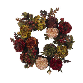 22 Autumn Hydrangea Peony Wreath - SKU #4911
