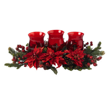 Poinsettia Berry Triple Candleabrum - SKU #4914