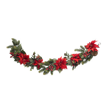 60 Poinsettia Berry Garland - SKU #4916
