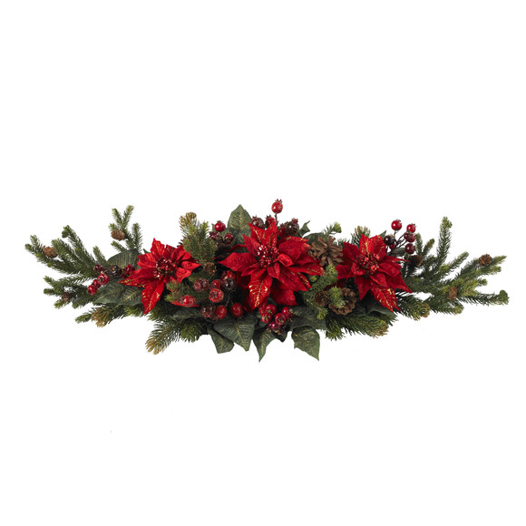 Poinsettia Berry Centerpiece - SKU #4917 - 1