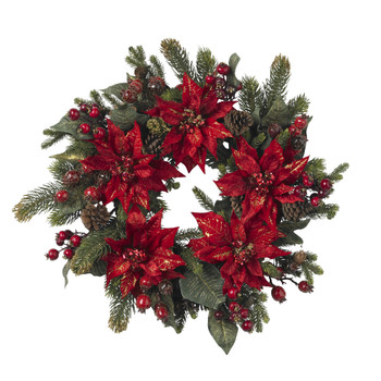 24 Poinsettia Berry Wreath - SKU #4919