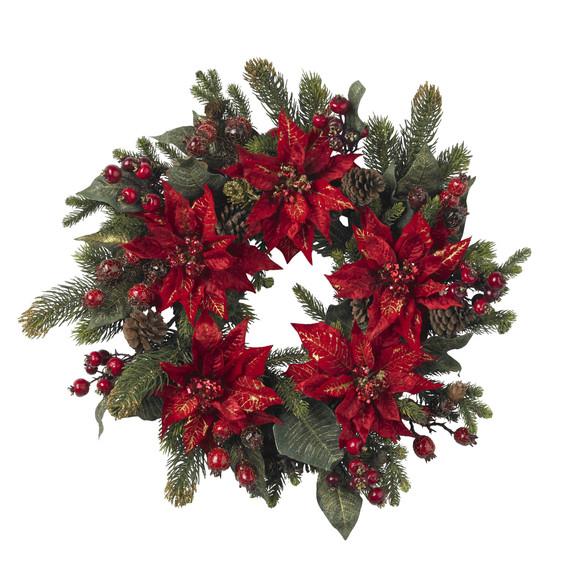 24 Poinsettia Berry Wreath - SKU #4919