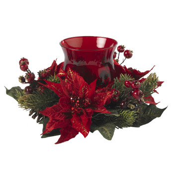 Poinsettia Berry Candelabrum - SKU #4920