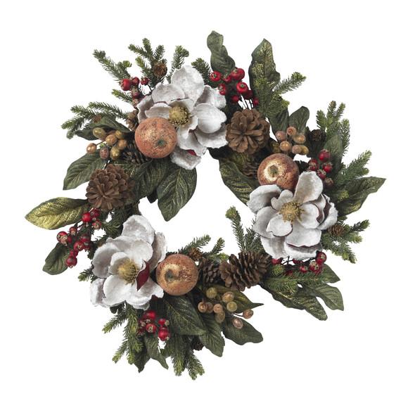 24 Magnolia Pinecone Berry Wreath - SKU #4923