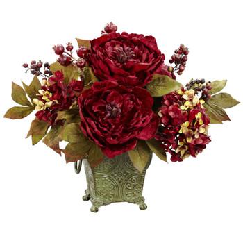 Peony Hydrangea Silk Flower Arrangement - SKU #4928
