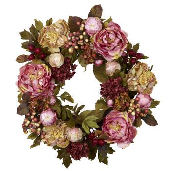 24 Peony Hydrangea Wreath - SKU #4930