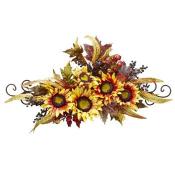 Sunflower Swag w/Metal Frame - SKU #4932