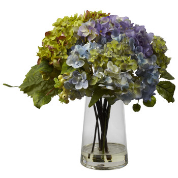 Hydrangea w/ Glass Vase Arrangement - SKU #4935