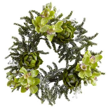 22 Iced Cymbidium Artichoke Wreath - SKU #4948