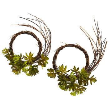 Mixed Succulent Wreath Set of 2 - SKU #4957-S2
