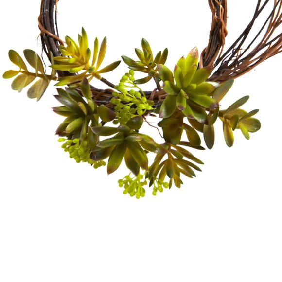 Mixed Succulent Wreath Set of 2 - SKU #4957-S2 - 2