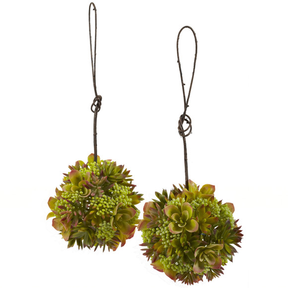 7 Mixed Succulent Hanging Spheres Set of 2 - SKU #4959-S2