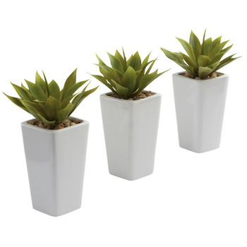 Mini Agave w/ Planter Set of 3 White - SKU #4972-S3