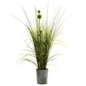 Grass Dandelion w/Cement Planter - SKU #4975