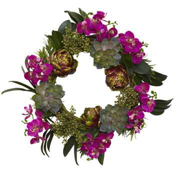 20 Orchid Artichoke Succulent Wreath - SKU #4989