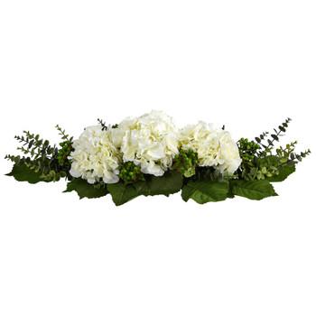 25 Hydrangea and Eucalyptus Artificial Arrangement - SKU #4996