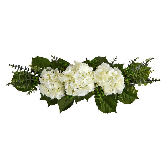 25 Hydrangea and Eucalyptus Artificial Arrangement - SKU #4996 - 2
