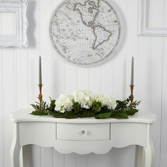 25 Hydrangea and Eucalyptus Artificial Arrangement - SKU #4996 - 3