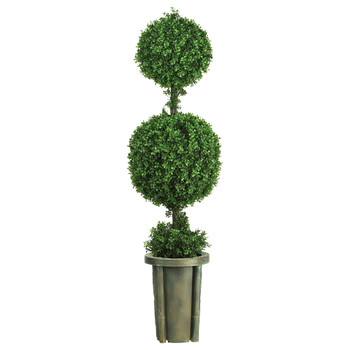 5 Double Ball Leucodendron Topiary w/Decorative Vase Indoor/Outdoor - SKU #5221