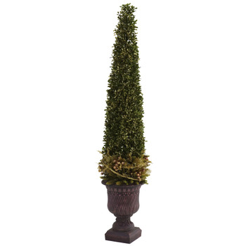 Mixed Golden Boxwood Holly Topiary w/Urn - SKU #5368