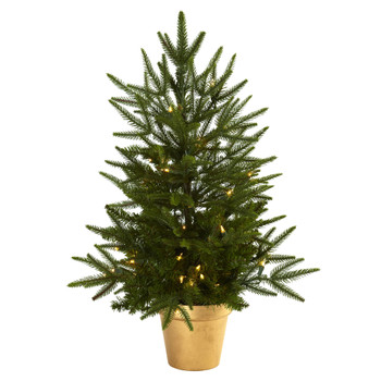 2.5 Christmas Tree w/Golden Planter Clear Lights - SKU #5370