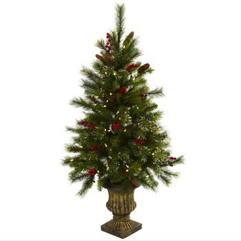 4 Christmas Tree w/Berries Pine Cones LED Lights Decorative Urn - SKU #5371