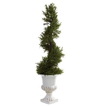 3 Rosemary Spiral w/Urn Indoor/Outdoor - SKU #5426