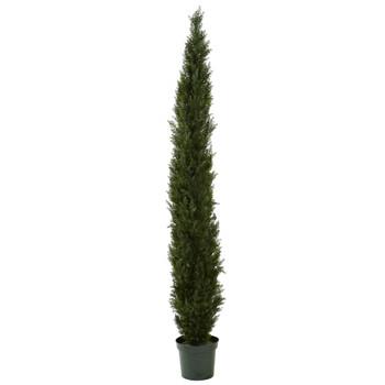 8 Mini Cedar Pine Tree w/4249 tips in 12 Pot Two Tone Green - SKU #5430