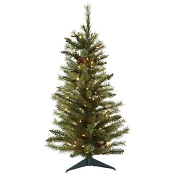 3 Christmas Tree w/Pine Cones Clear Lights - SKU #5441